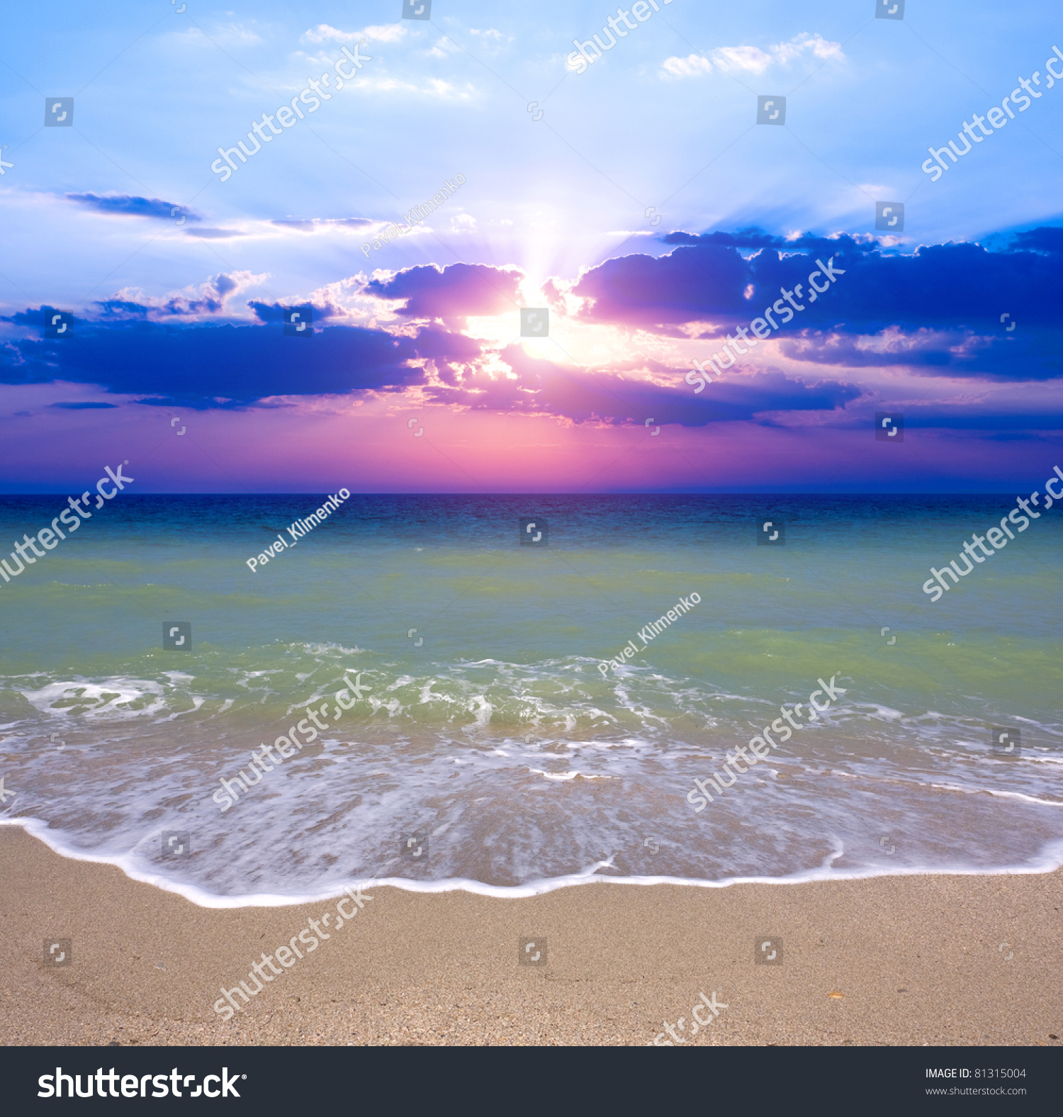 Nice Sunset Over Sea Beach Stock Photo 81315004 Shutterstock