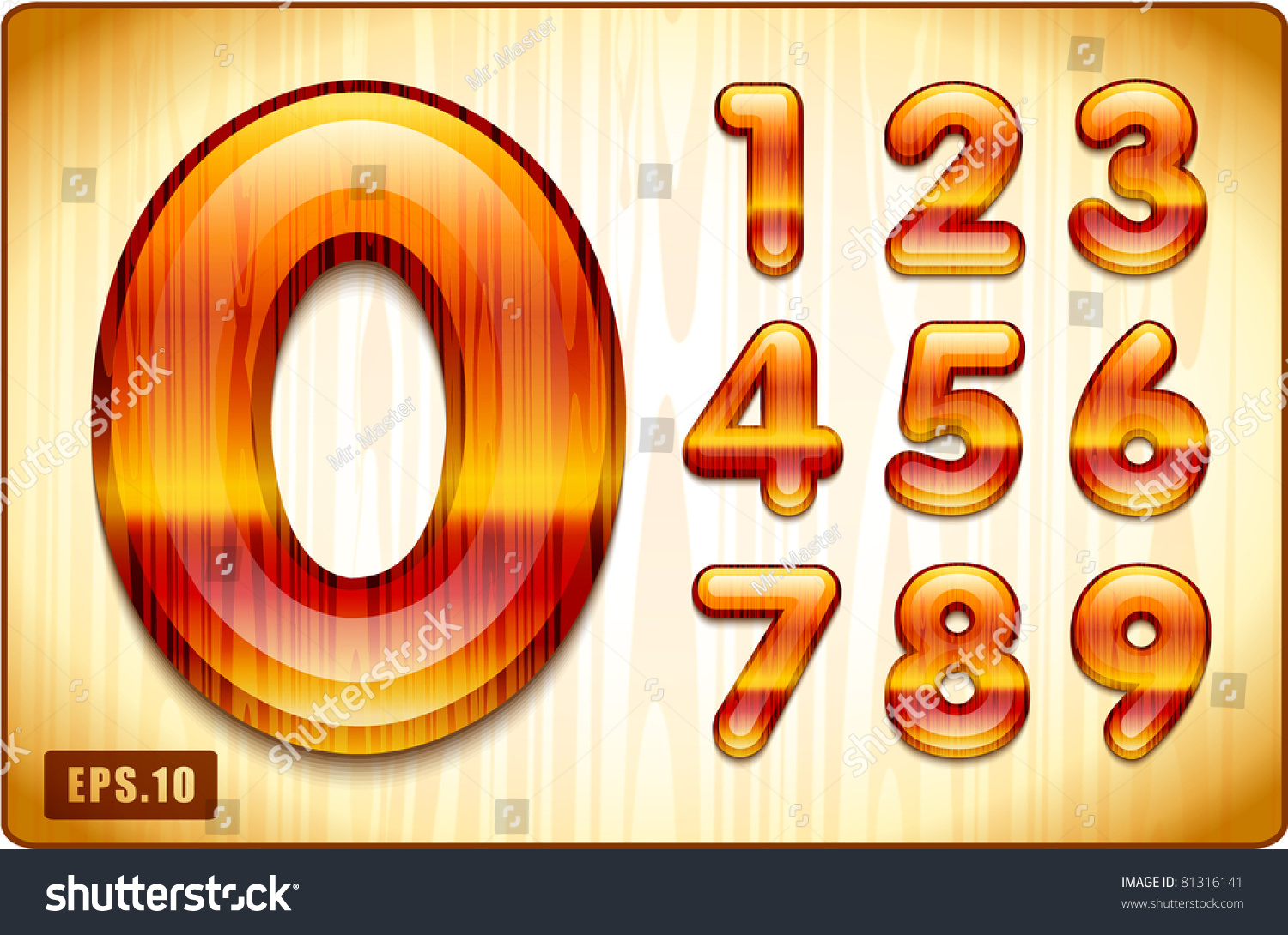 3d joyful decorative lacquer numbers expensive stock vector