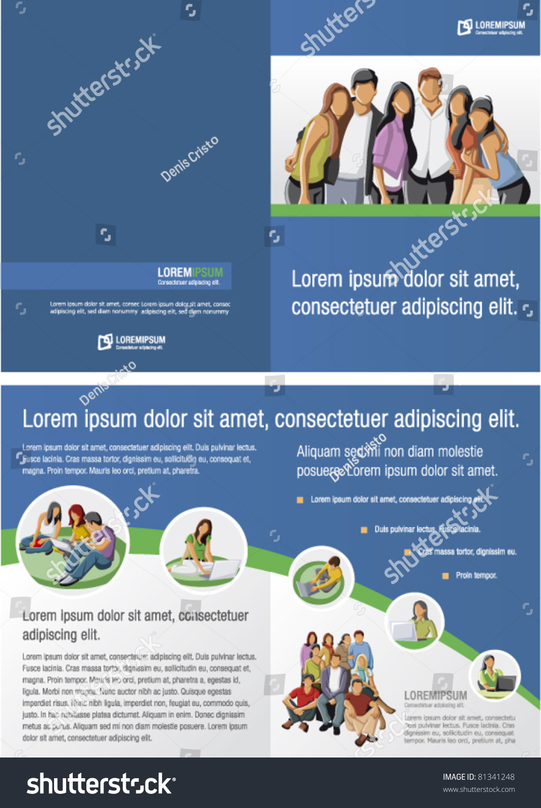 Blue green template advertising brochure students stock for Free brochure templates for students