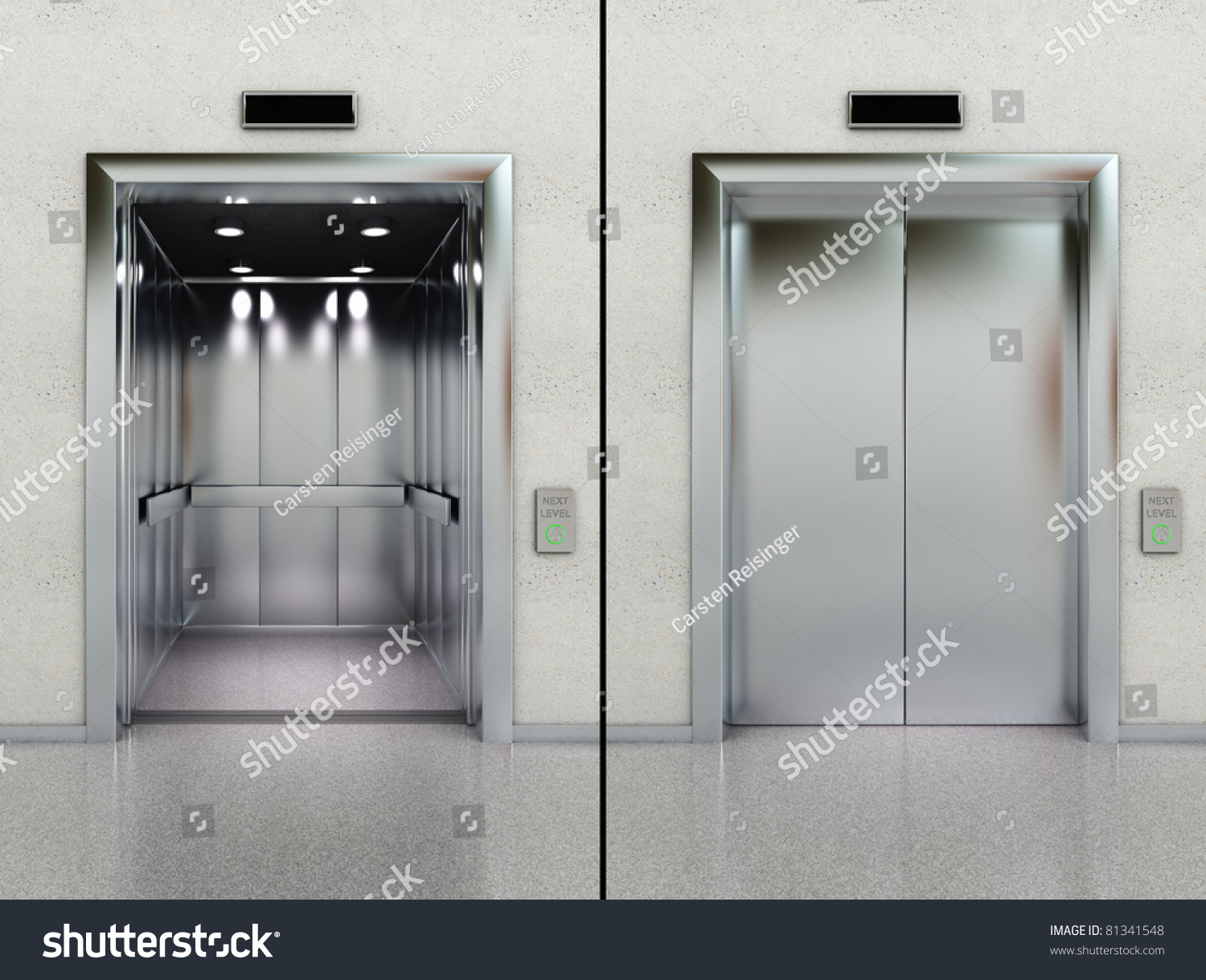 Two images modern elevator opened closed stock for Modern elevator design