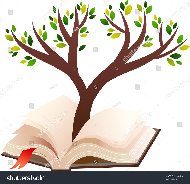 illustration tree growing open book stock vector 81341764