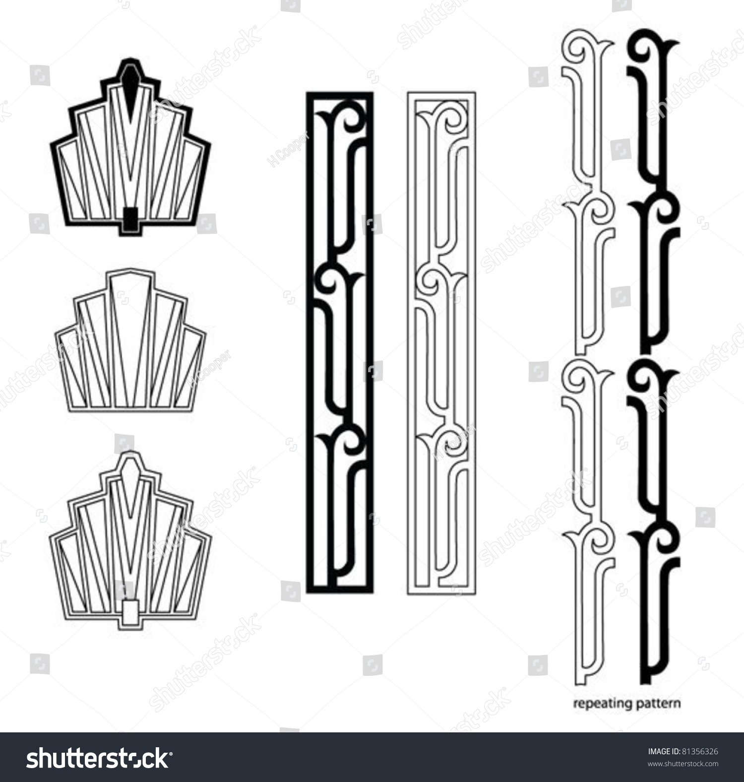 Art deco design elements stock vector 81356326 shutterstock for Art deco interior design elements