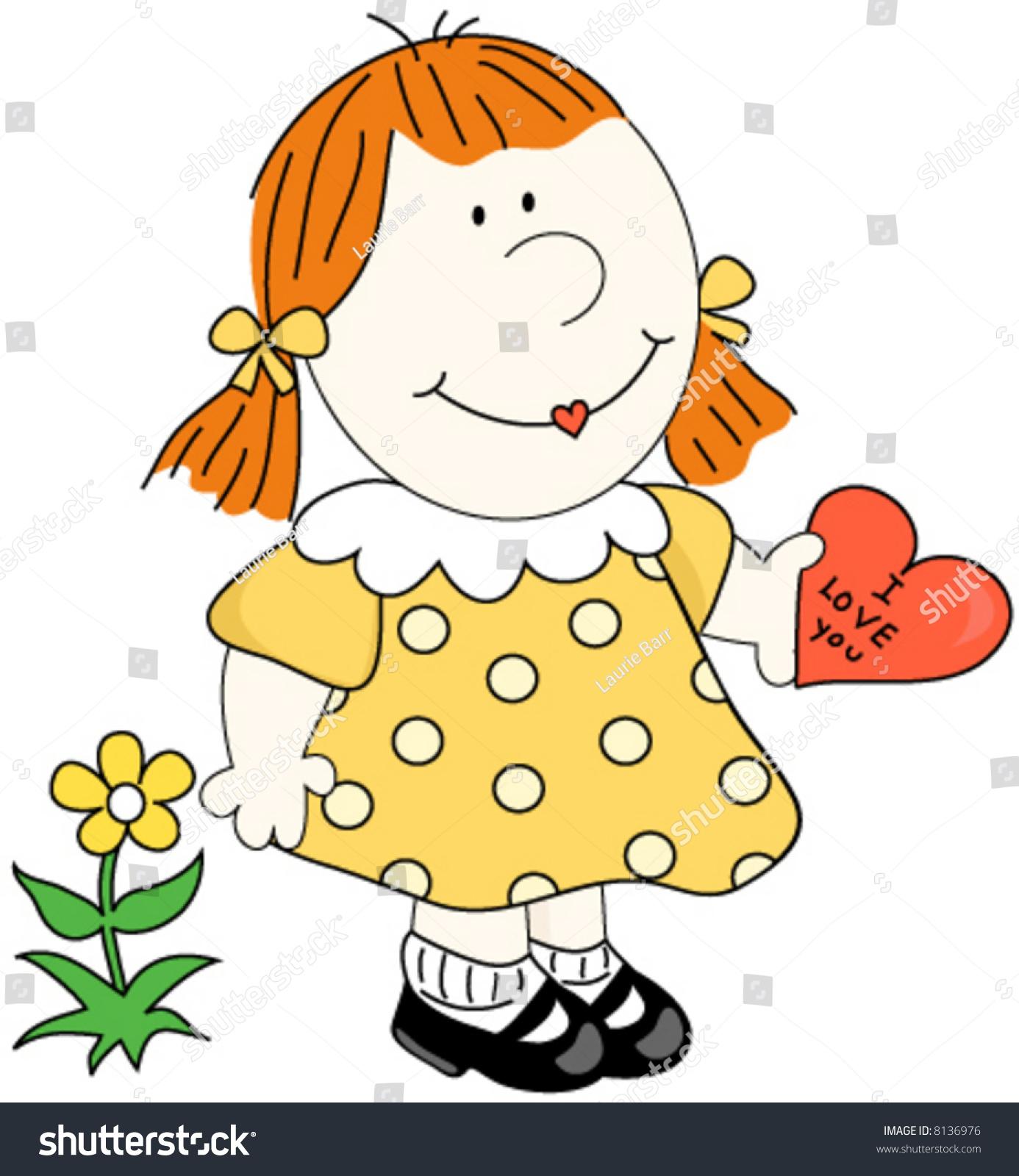 Cartoon girl i love you heart stock vector 8136976 shutterstock cartoon girl with i love you izmirmasajfo