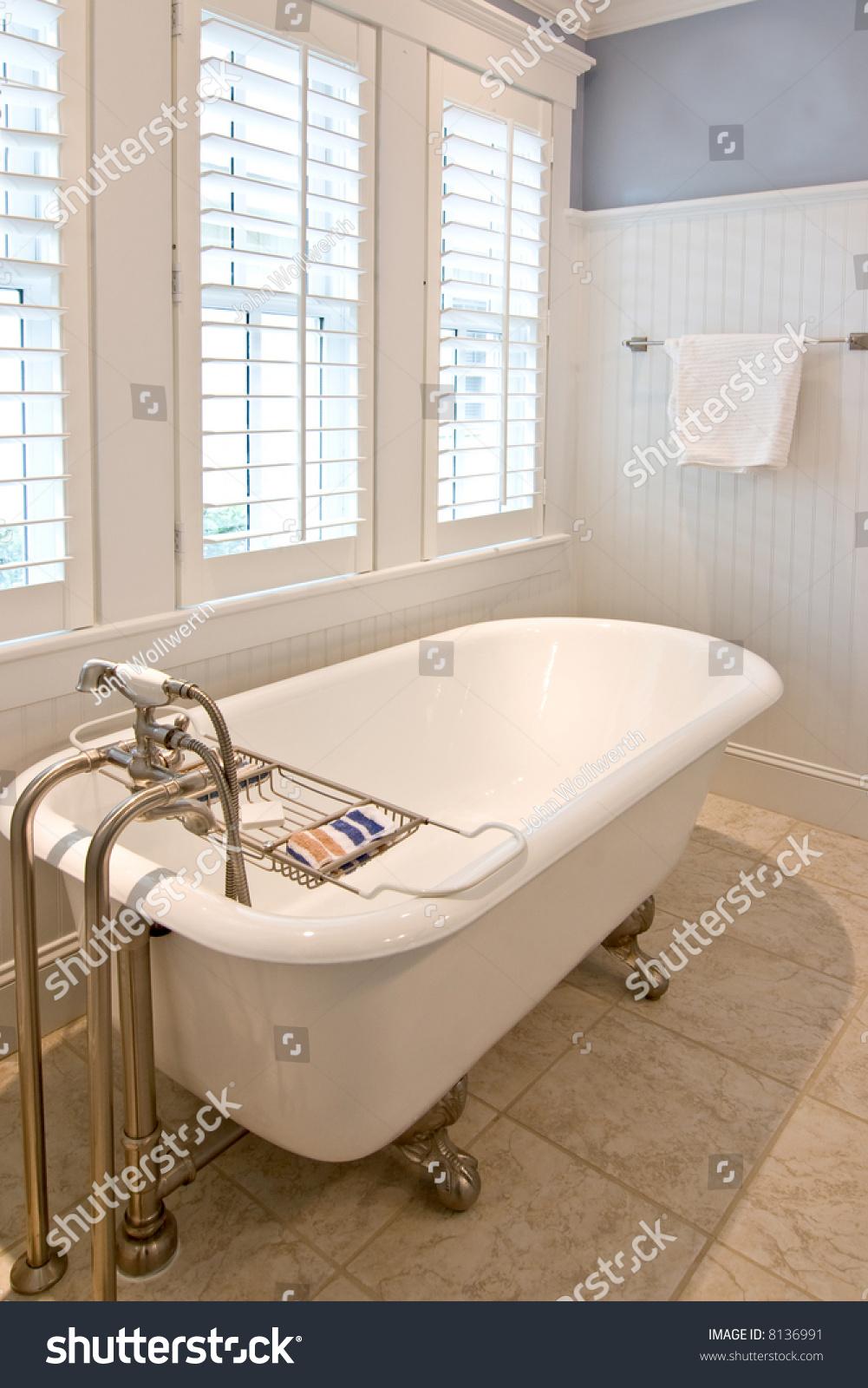Classical Modern Bathroom With Clawfoot Tub Stock Photo
