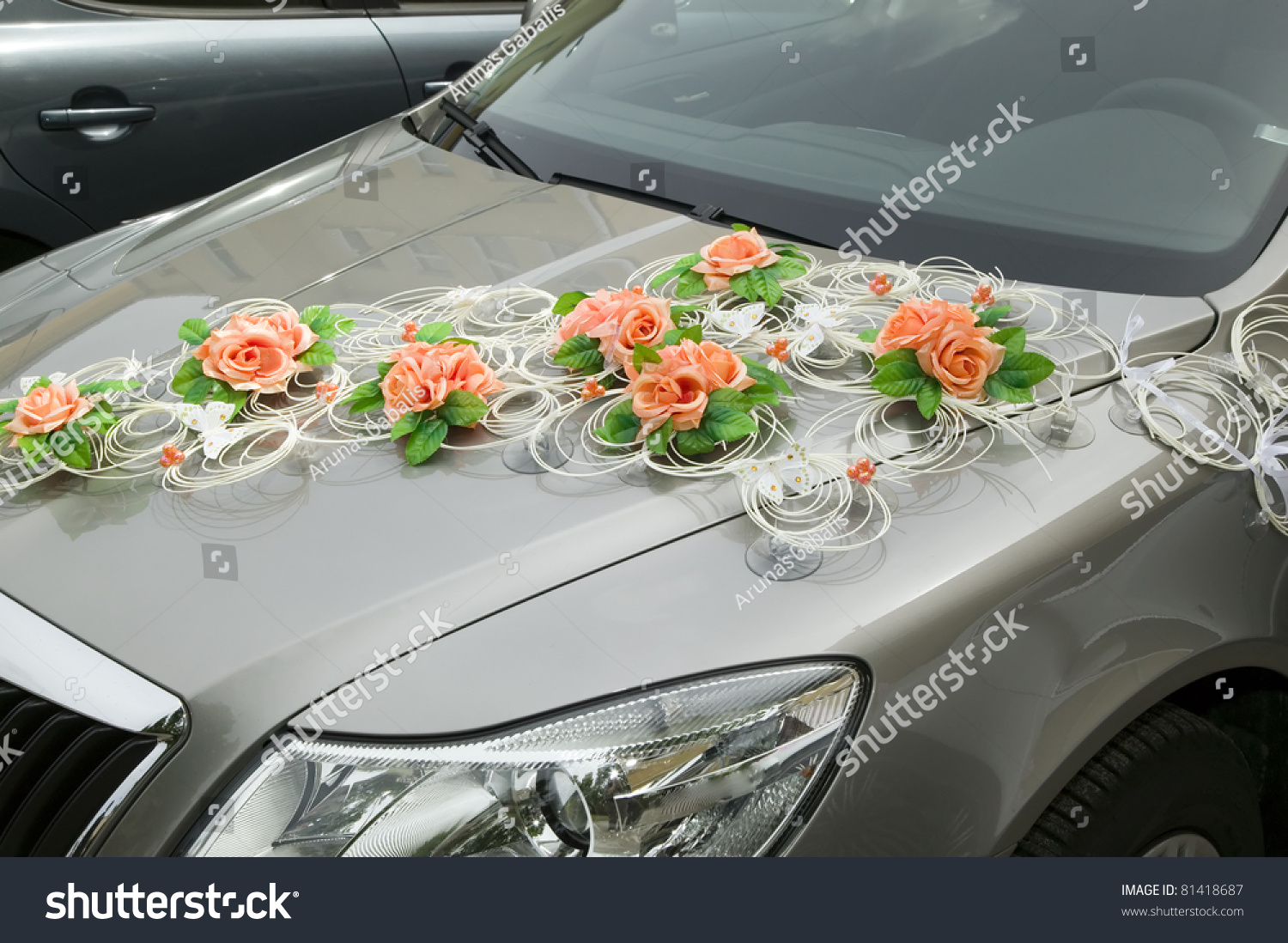 Car Decorations Flower Driving Bride Groom Stock Photo Edit Now