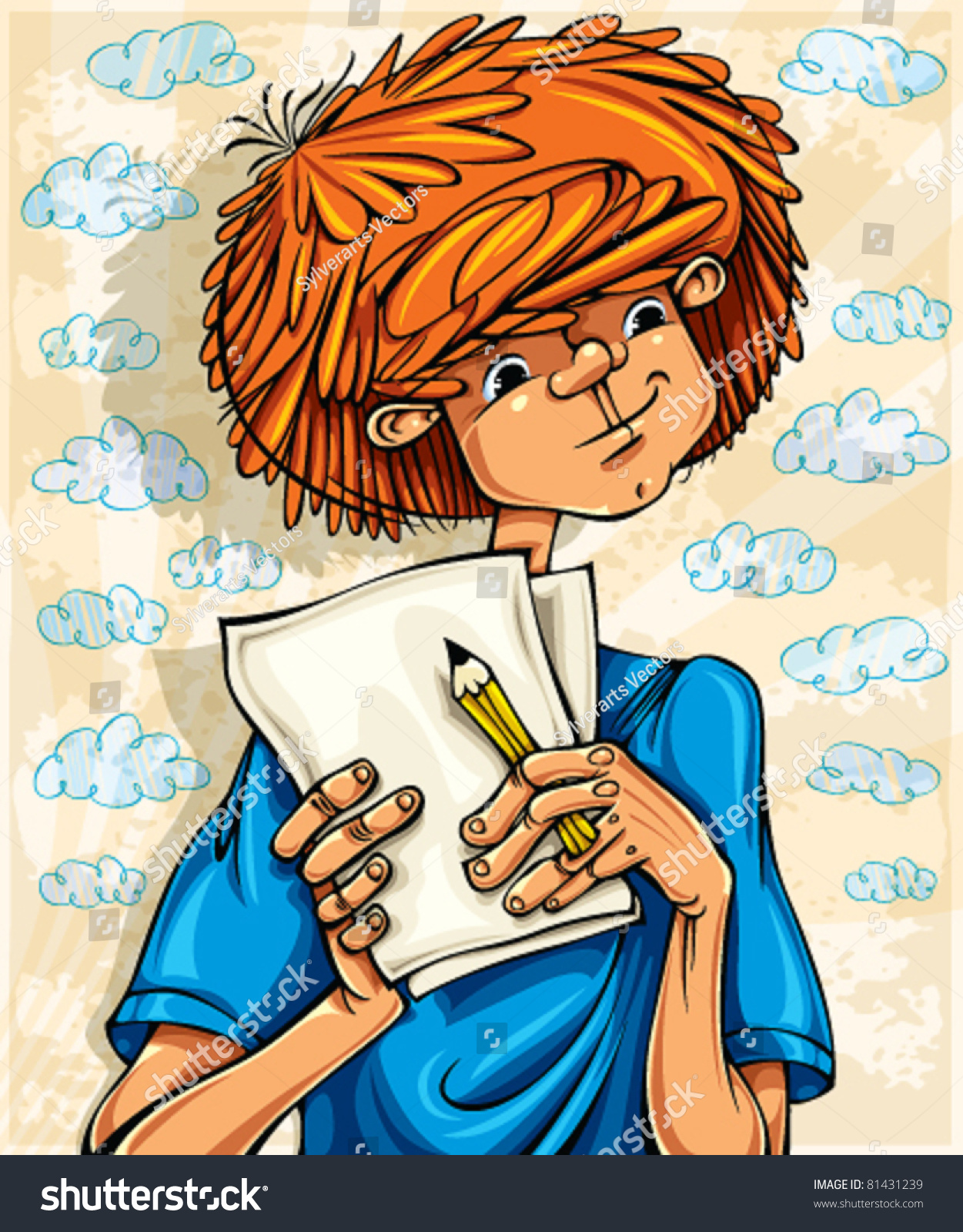 Teen boy, hairy red head, with pencil and paper sheets, young artist.