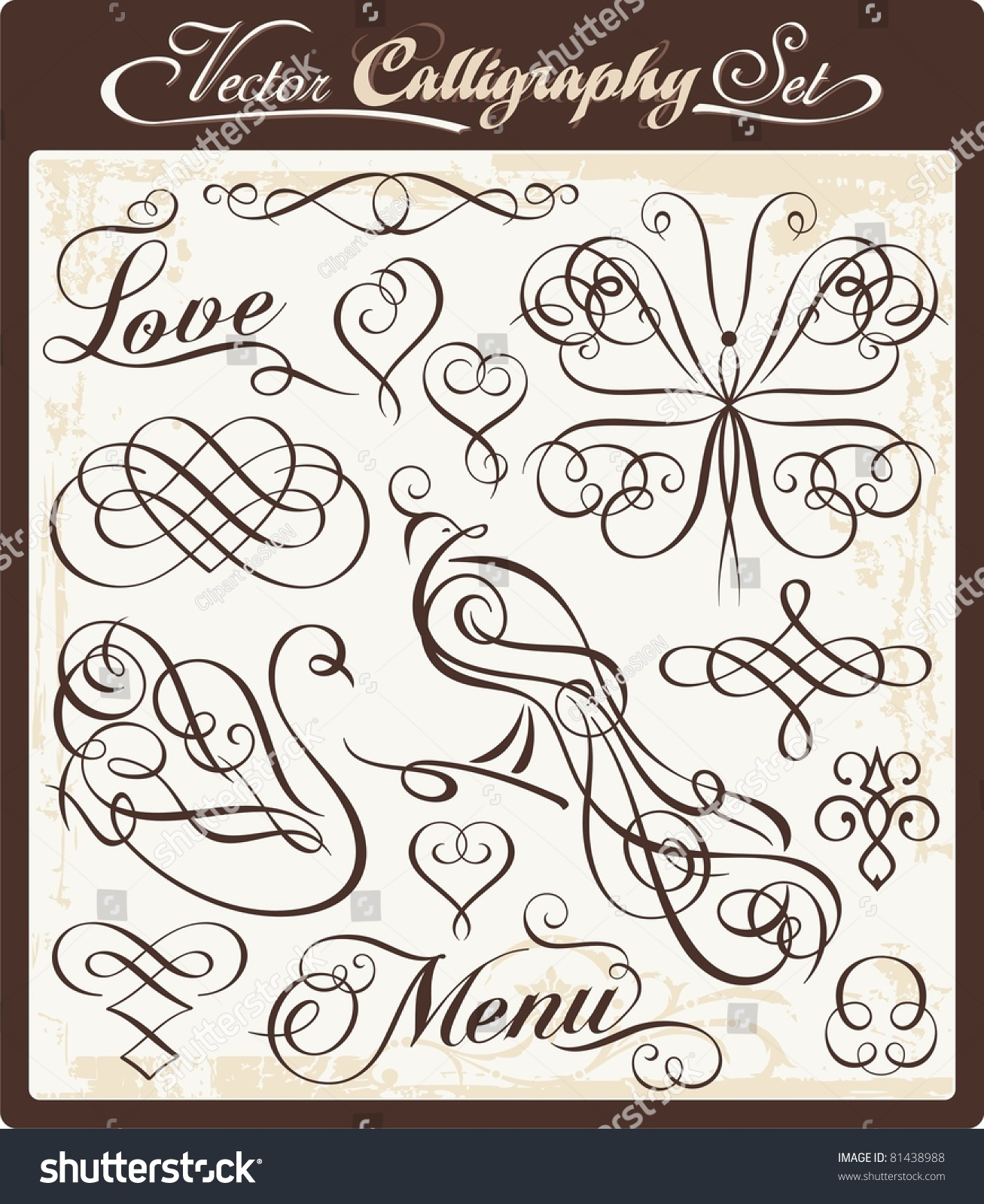 vector set exquisite calligraphic ornamental designs stock vector