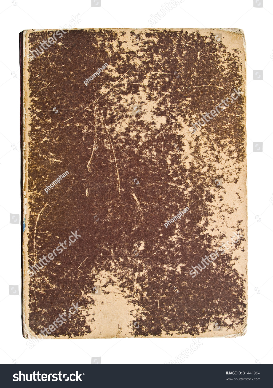 Book Cover White Background : Old book cover on a white background stock photo