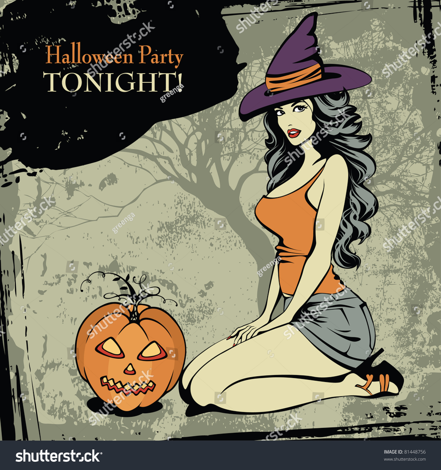 Halloween Card Sexy Witch Spooky Pumpkin Stock Vector 81448756 ...