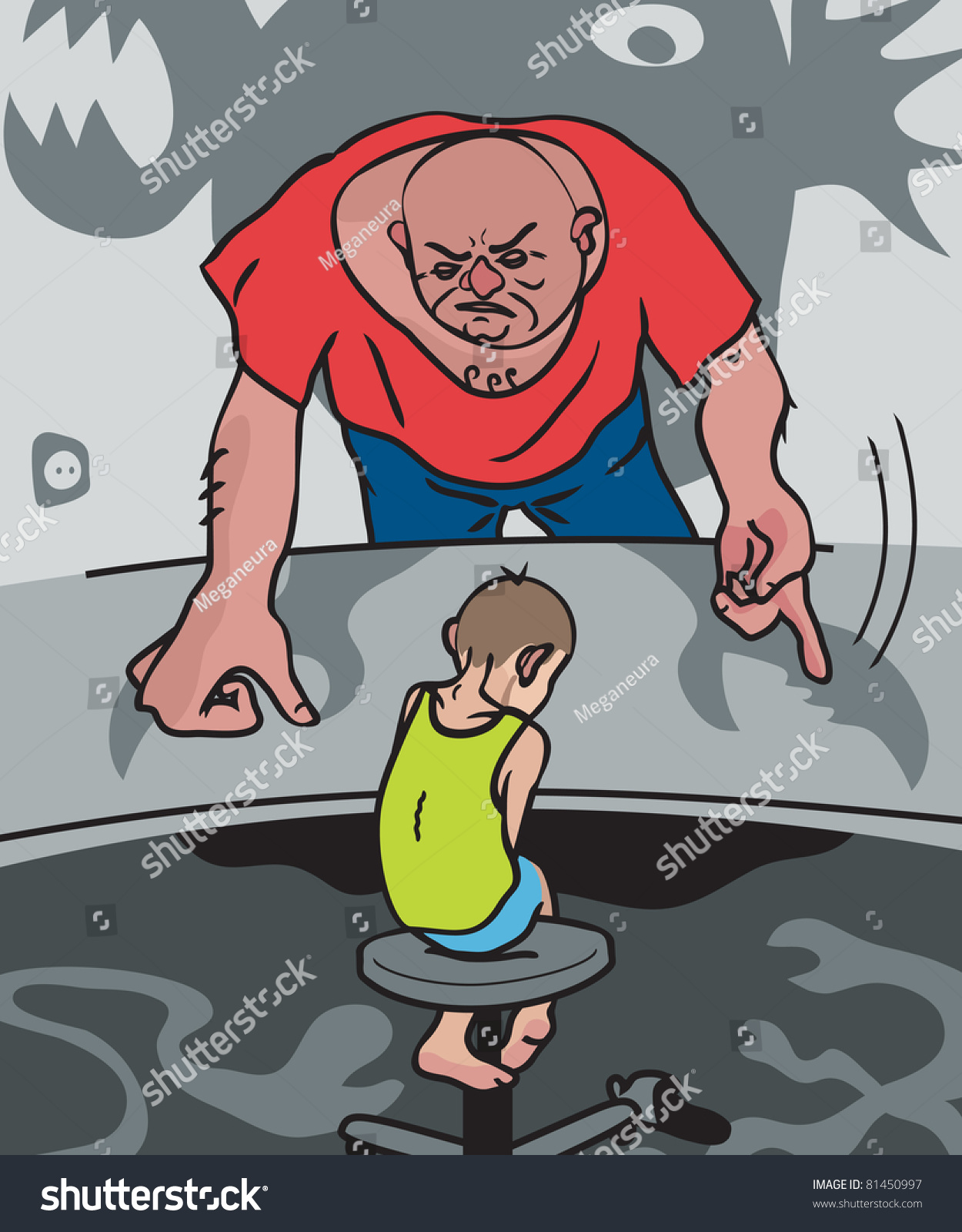 Child Abuse Illustration Cruel Father Scolding Stock Illustration ...
