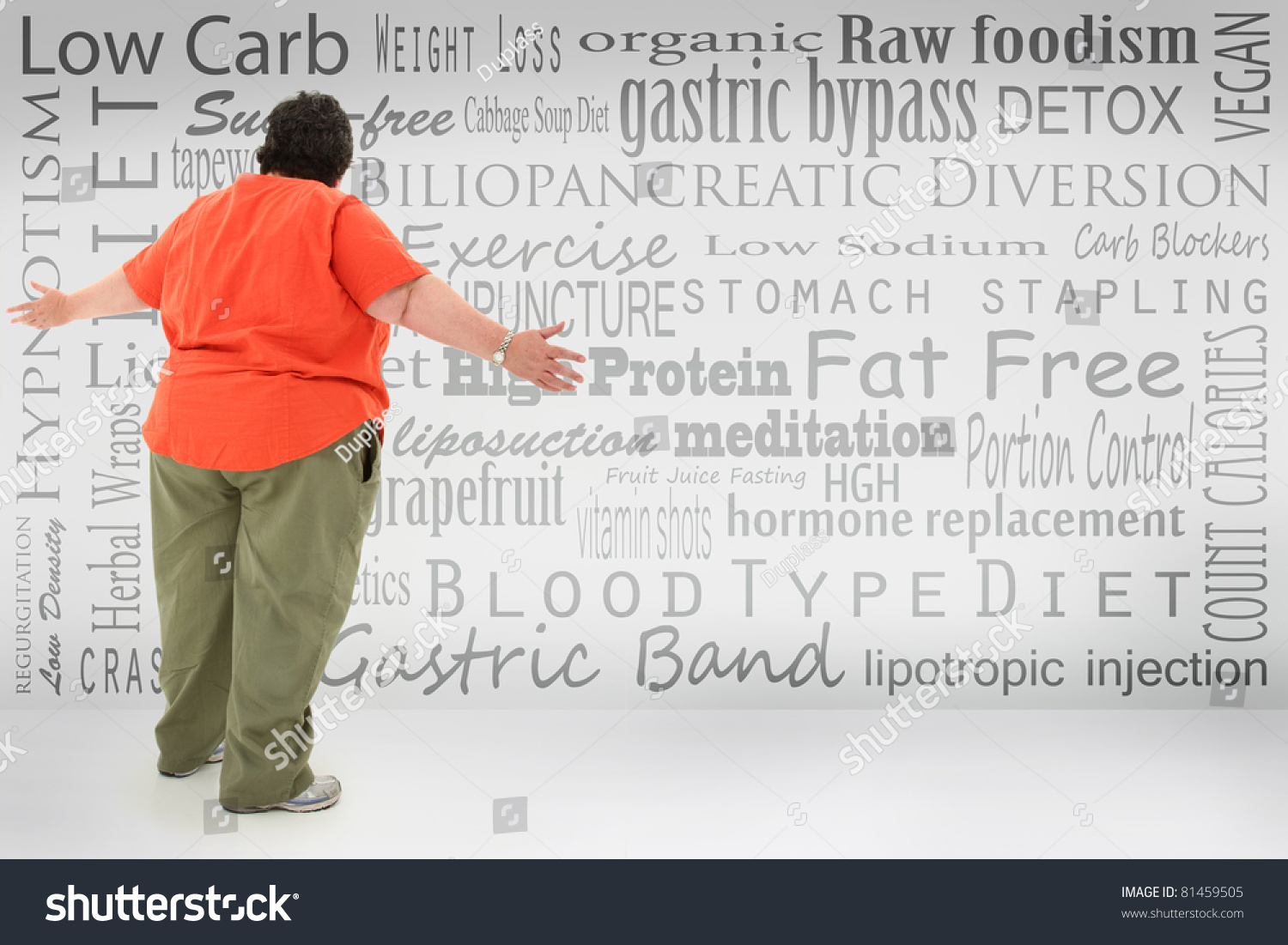 Overwhelmed Obese Woman Looking At List Of Fad Diets And Surgical Weight Loss Methods Written On