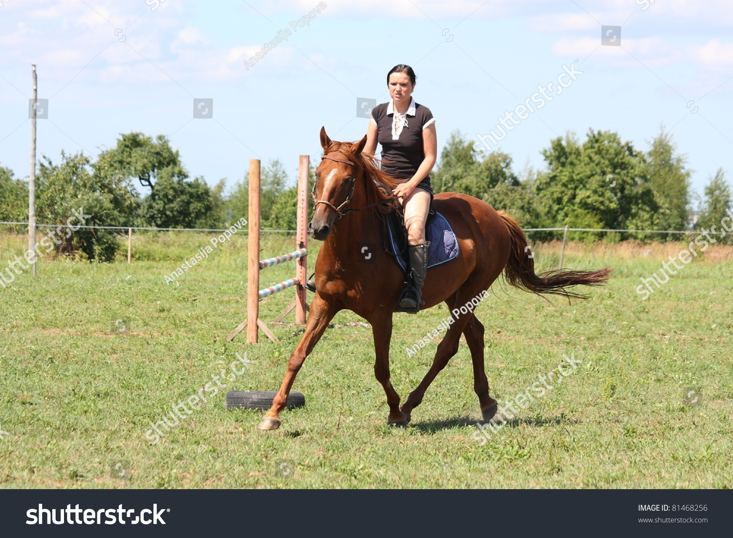 Woman Riding On Chestnut Horse Stock Photo Edit Now 81468256