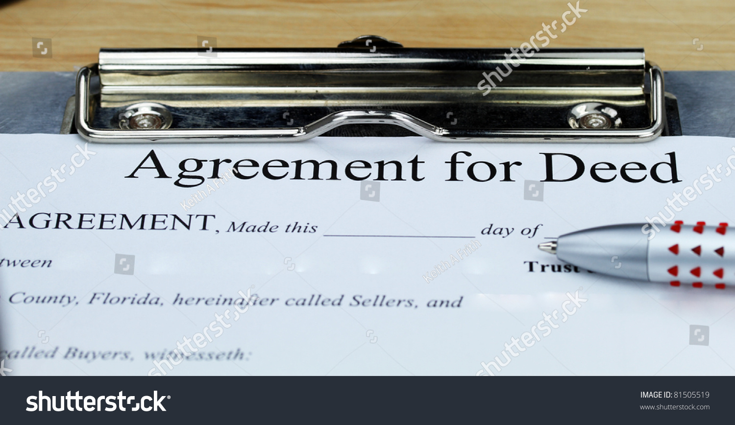 Agreement Deed Document On Clip Board Stock Photo Edit Now