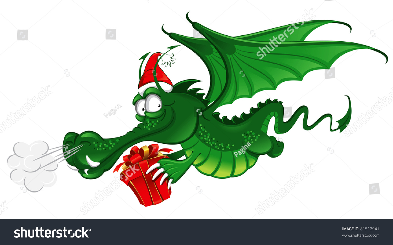 8f15b10c13526 Cheerful Dragon in Santa s hat carries the christmas gift (symbol of the  new year 2012