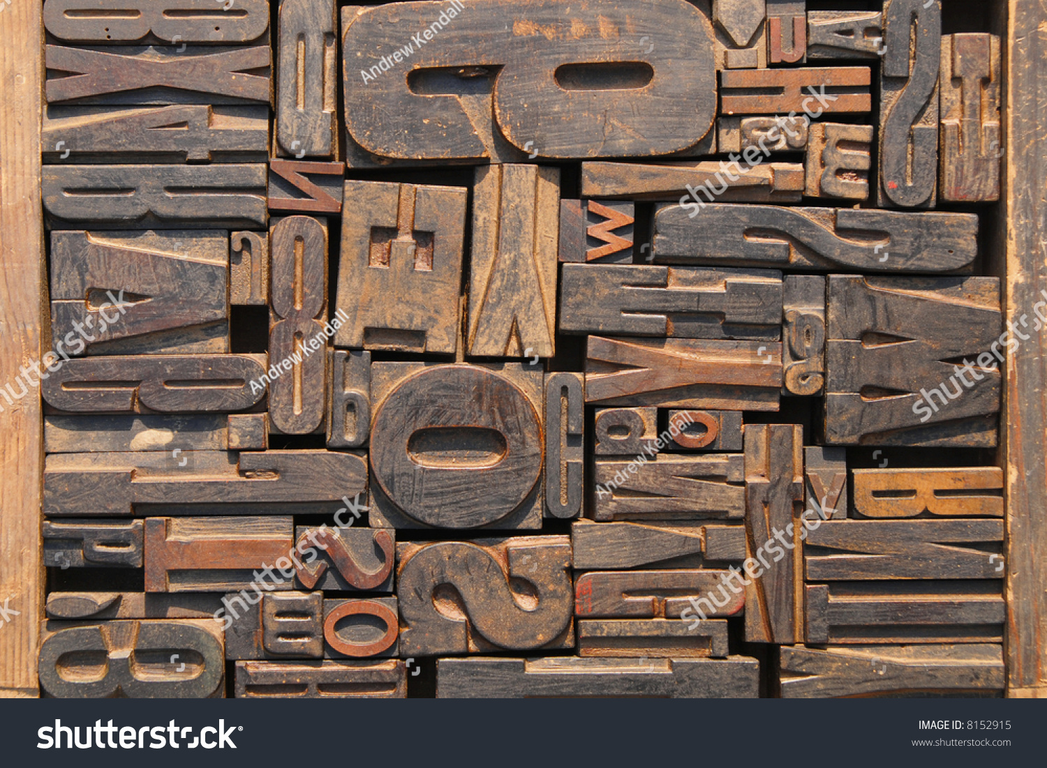 box of old wooden printing blocks with different sized letters