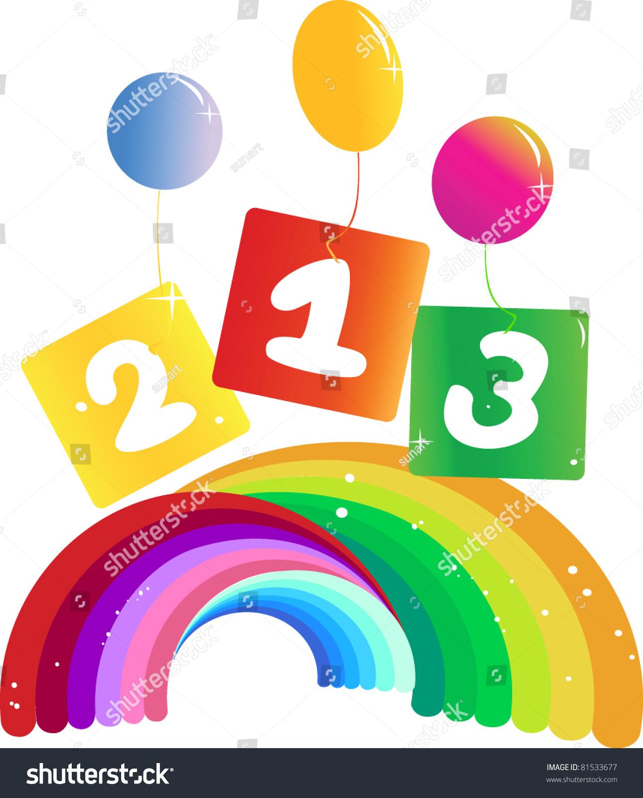 Cartoon Number 123 ,Rainbow And Balloons Stock Vector Illustration ...