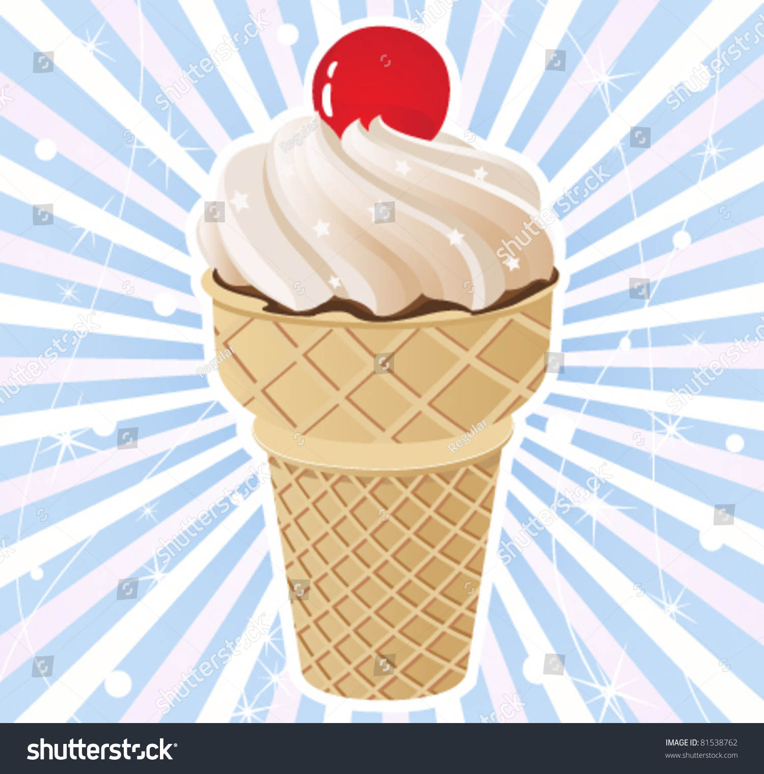 Ice Cream Cones Background Royalty Free Vector Image: Ice Cream Cone On Radiant Background Stock Vector 81538762