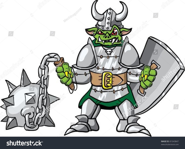 Illustration Of An Evil Goblin In Armor And A Horned ... Horned Viking Helmet Goblin Rocket Helmet