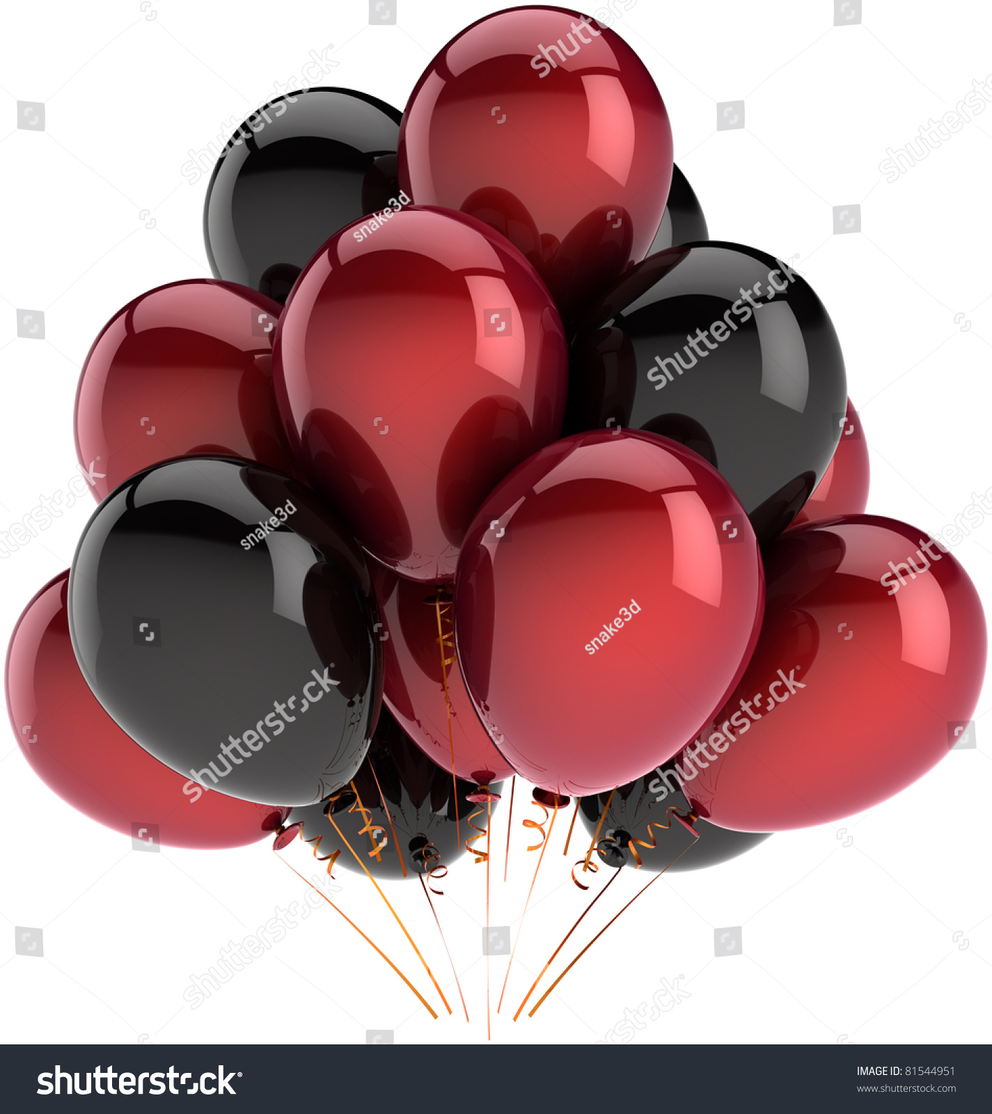 Party balloons black red happy birthday decoration