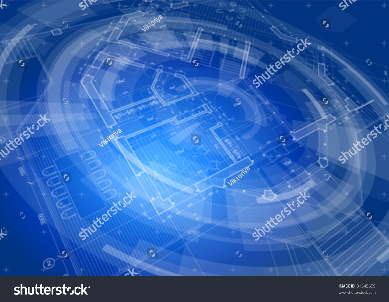 Architecture design blueprint house plan blue technology radial background vector illustration eps