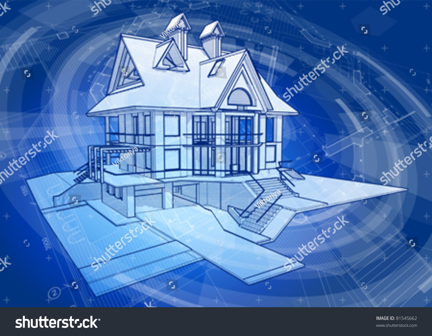 Architecture Design House Blueprint Plans Blue Stock Vector 81545662    Shutterstock