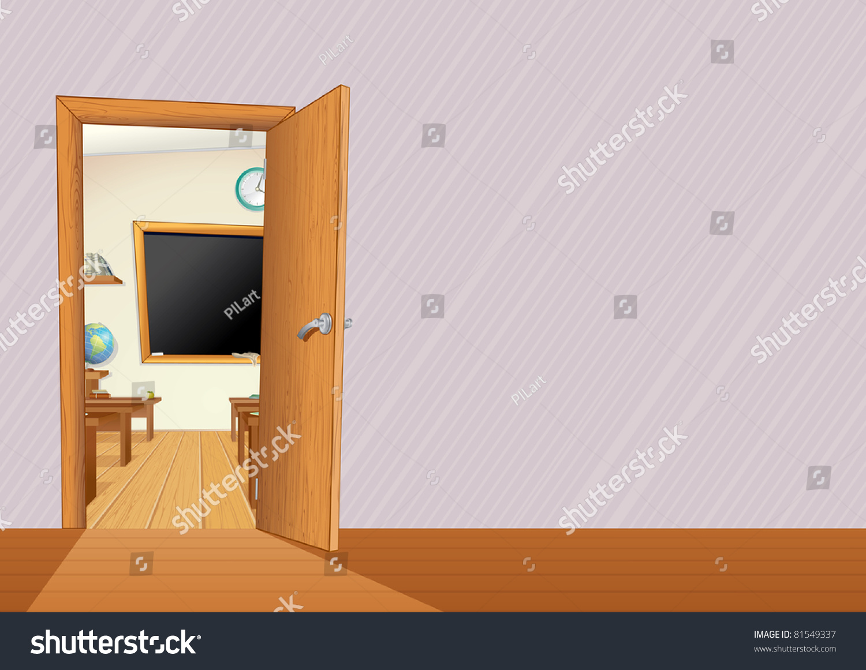 Classroom Blackboard Design ~ Empty classroom with wooden furniture desks blackboard