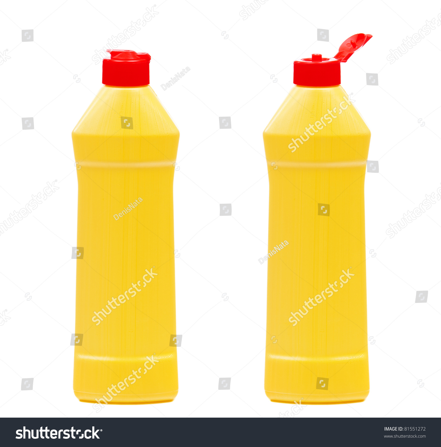 Yellow Plastic Bottle With Detergent Without Label ...