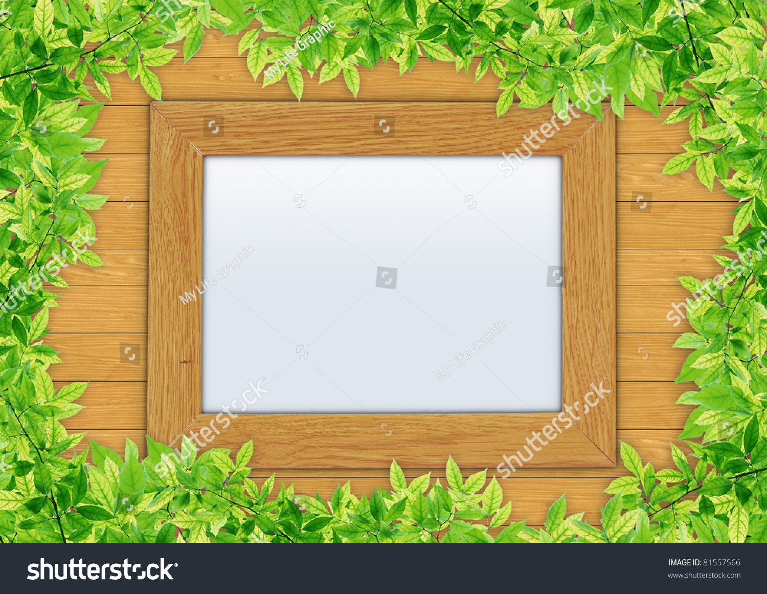 Wooden photo frame on wooden wall stock photo 81557566 for Wooden work on wall