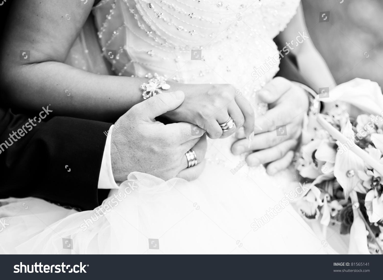 Bride Groom Holding Hands Black White Stock Photo 81565141