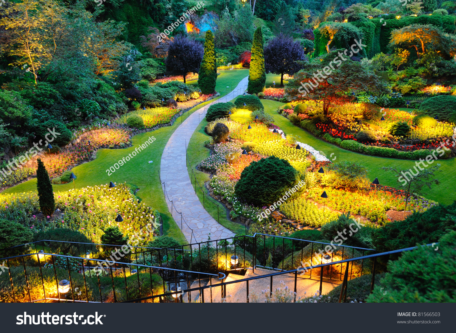 Summer night scene beautiful garden butchart stock photo for Gardening tools victoria bc