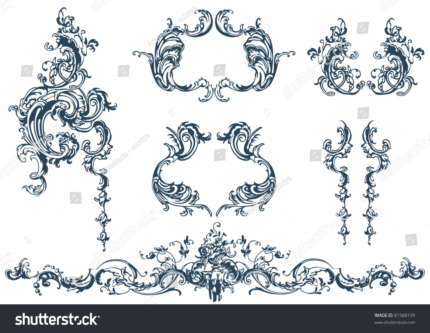 Decorative Vector Elements Rococo Style Stock Vector 81588199
