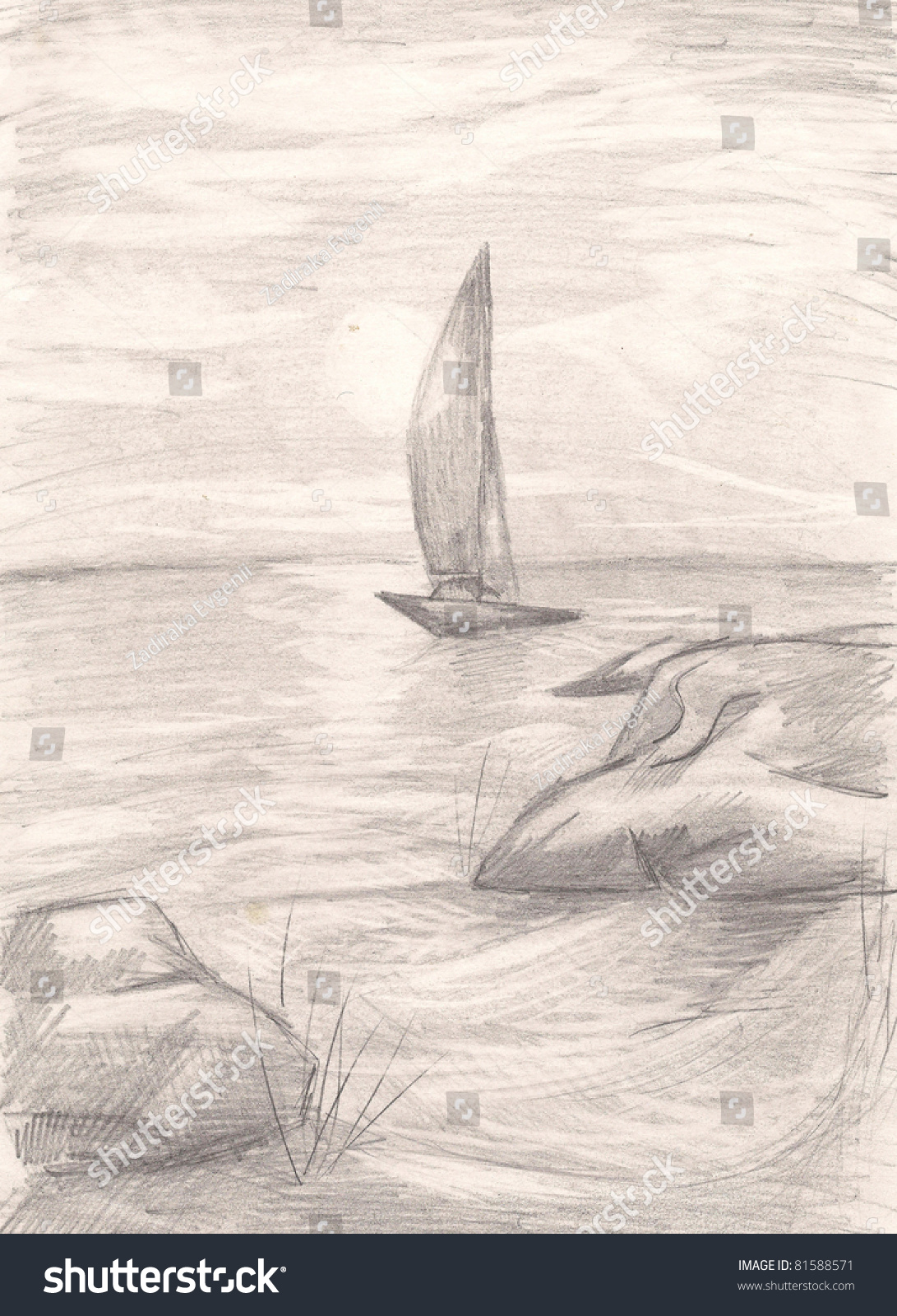 Ship at sea pencil drawing