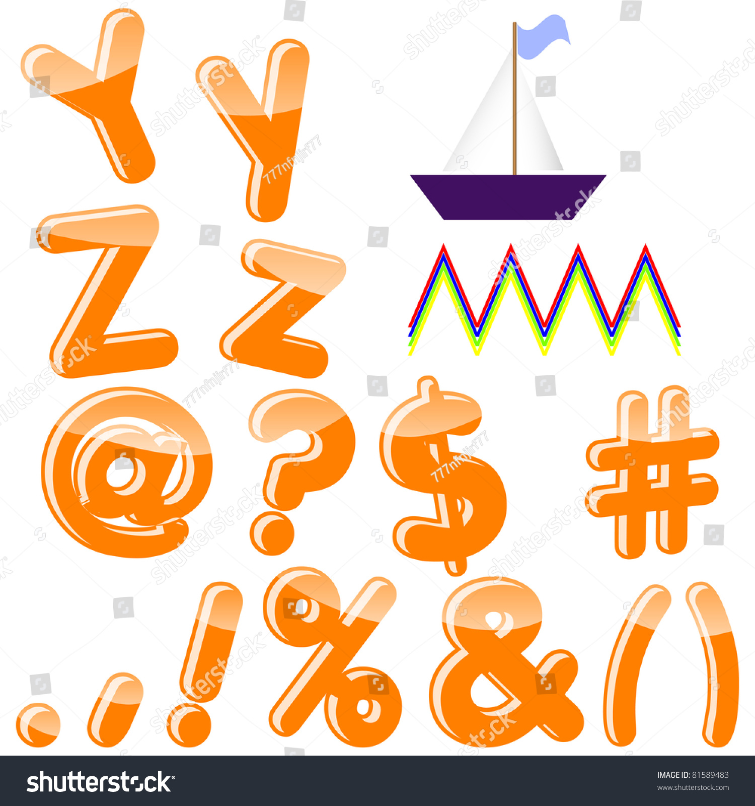 Alphabet letters y z punctuation marks stock vector 81589483 alphabet with letters y z punctuation marks and symbols vector 10 buycottarizona Choice Image