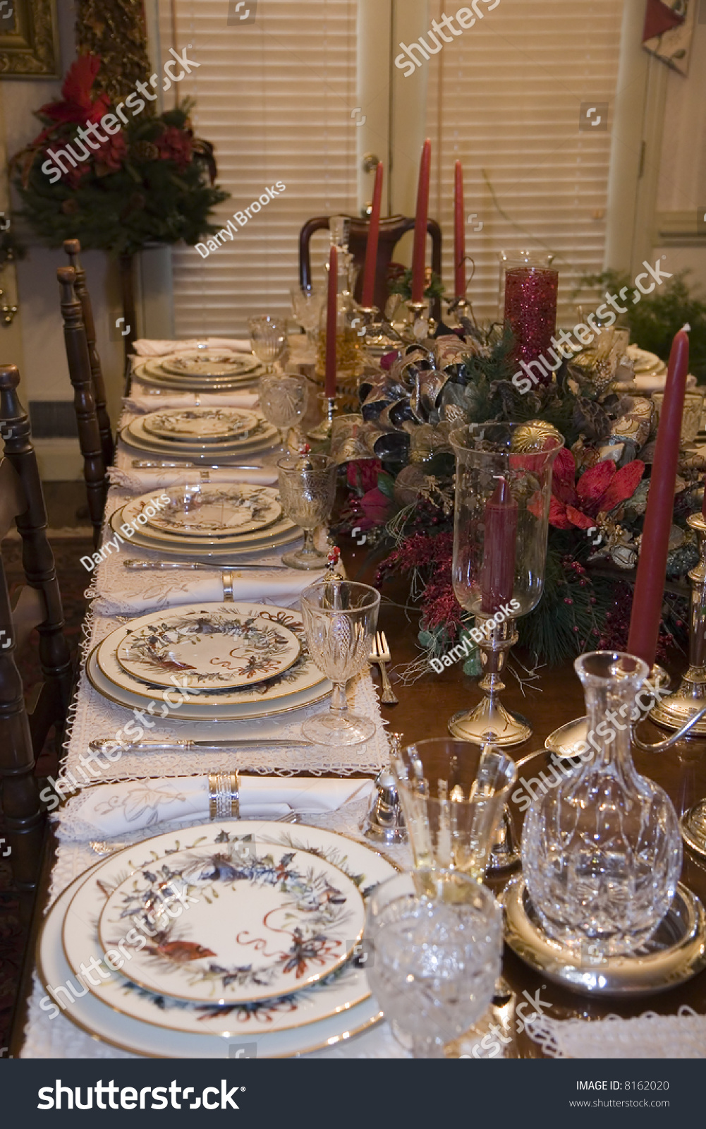 A Formal Table Set For A Christmas Dinner Stock Photo