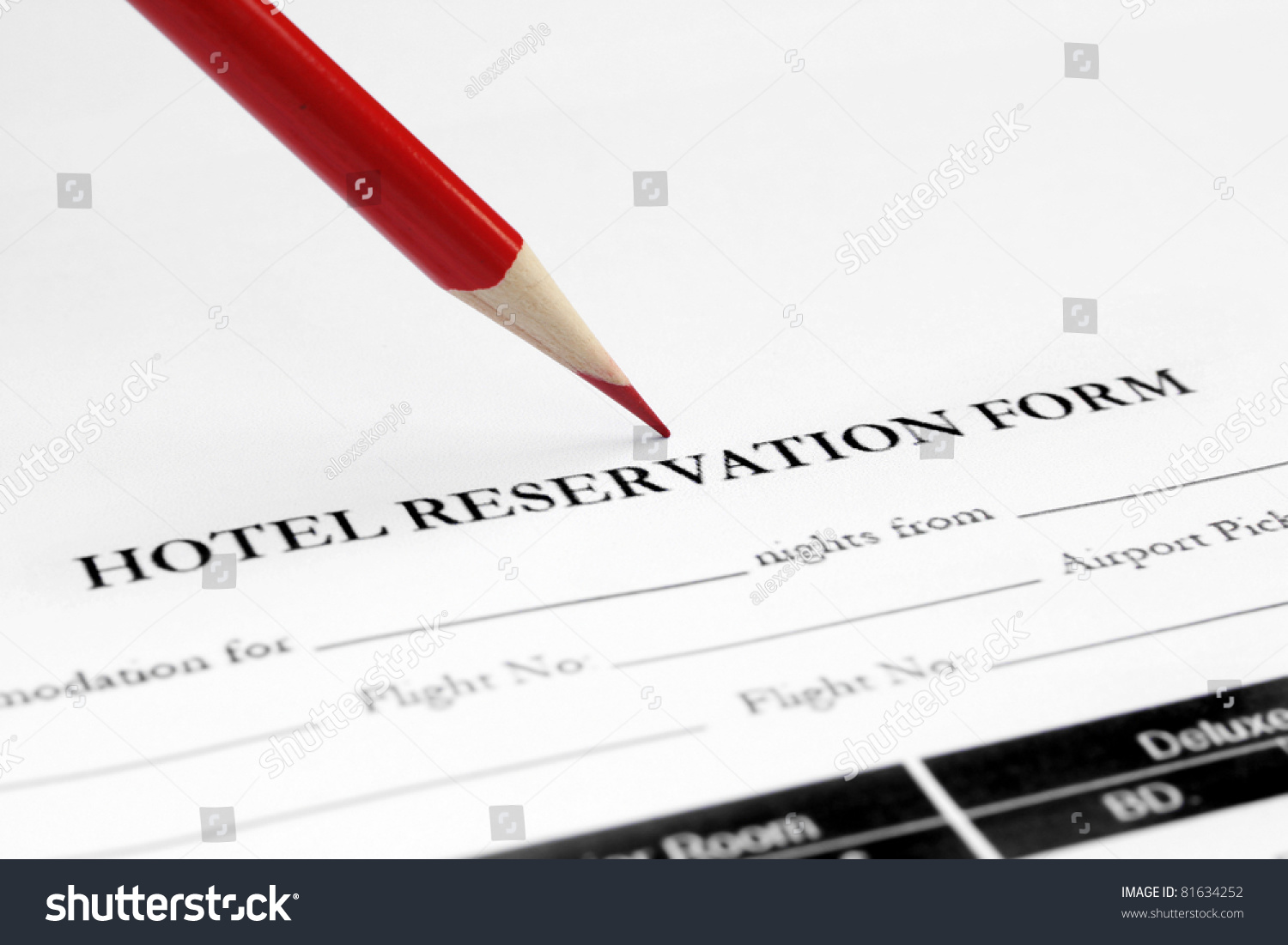 Hotel reservation form stock photo royalty free 81634252 hotel reservation form altavistaventures Choice Image