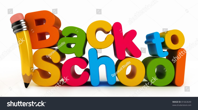 3d Render Back School Word Stock Illustration 81663649 - Shutterstock