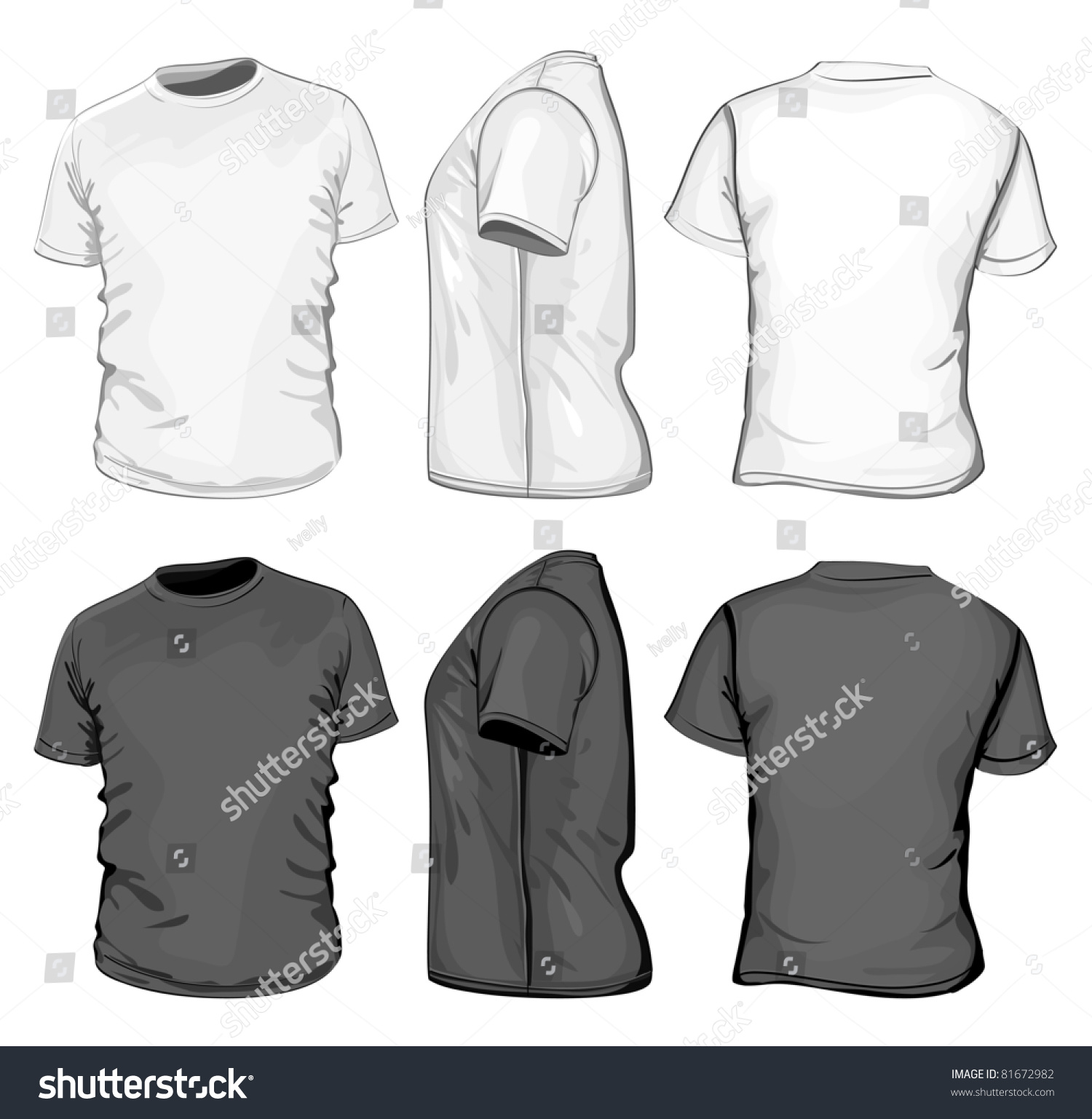 Vector. Men'S T-Shirt Design Template (Front, Back And