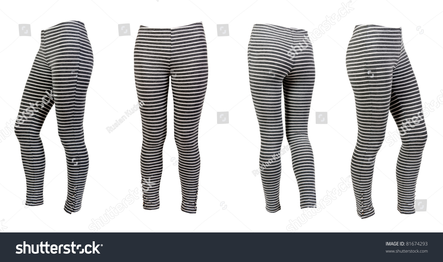 6f635e720fbb4 four gray striped leggings collage isolated on a white background. Image  composed of several photographs