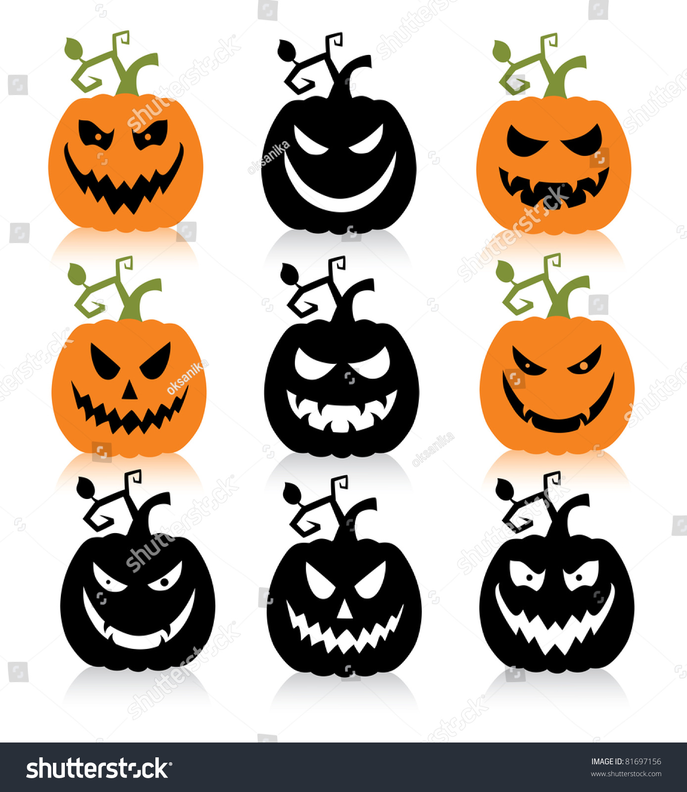 Scary Pumpkin Painting Set Of A Scary Halloween Pumpkin Stock Vector Illustration