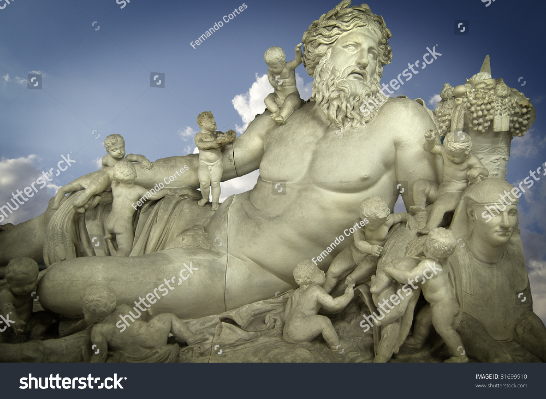 sculpture god zeus his children classic stock photo 81699910