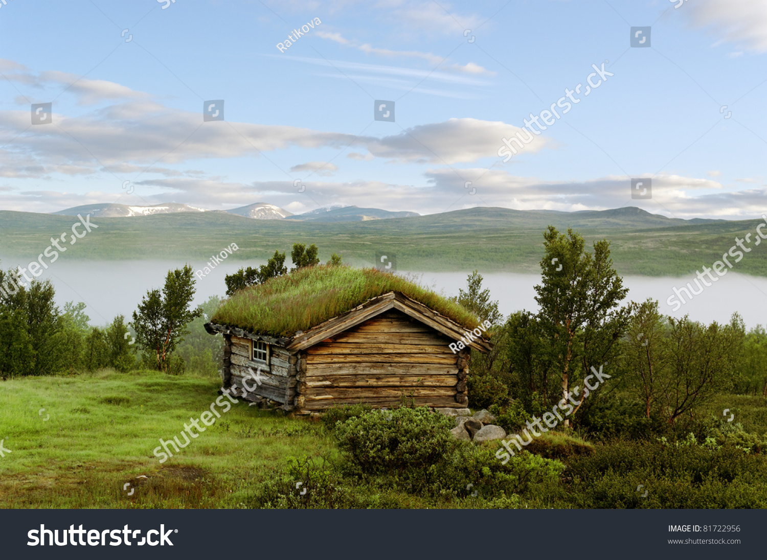 Small House On Hill Norway Mountains Stock Photo 81722956