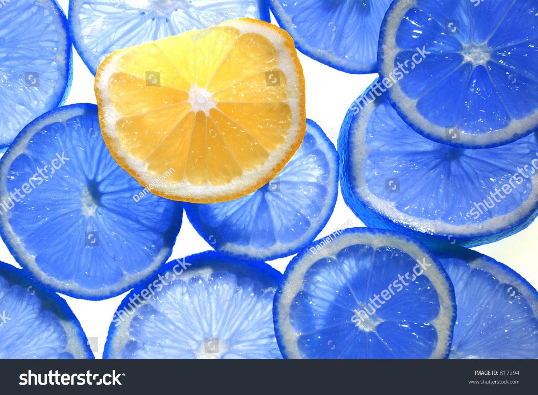 Backlit Citrus Fruit Blue Colored Lemons Stock Photo ...