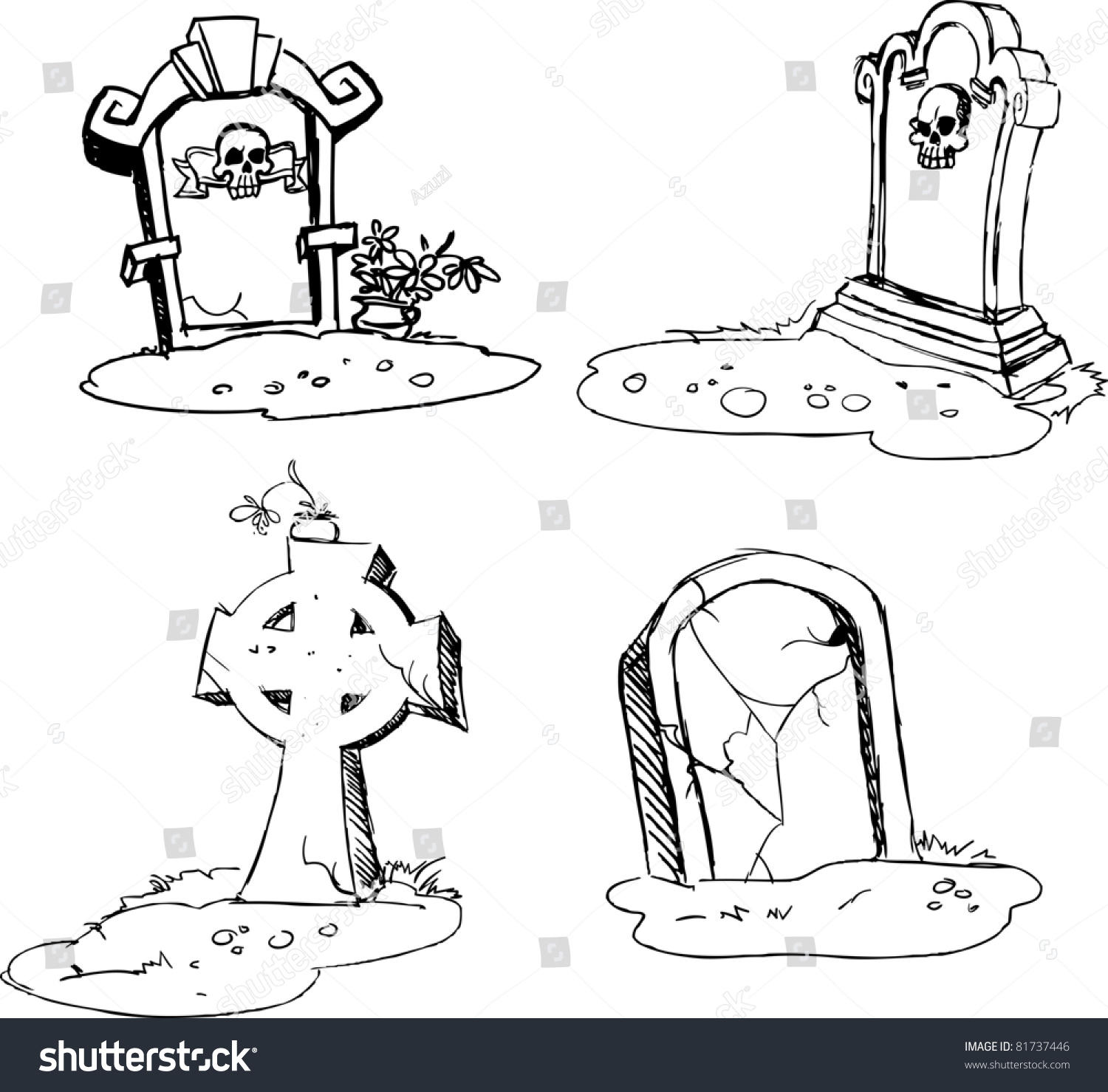 scary tombstones halloween night outlines stock vector (royalty free