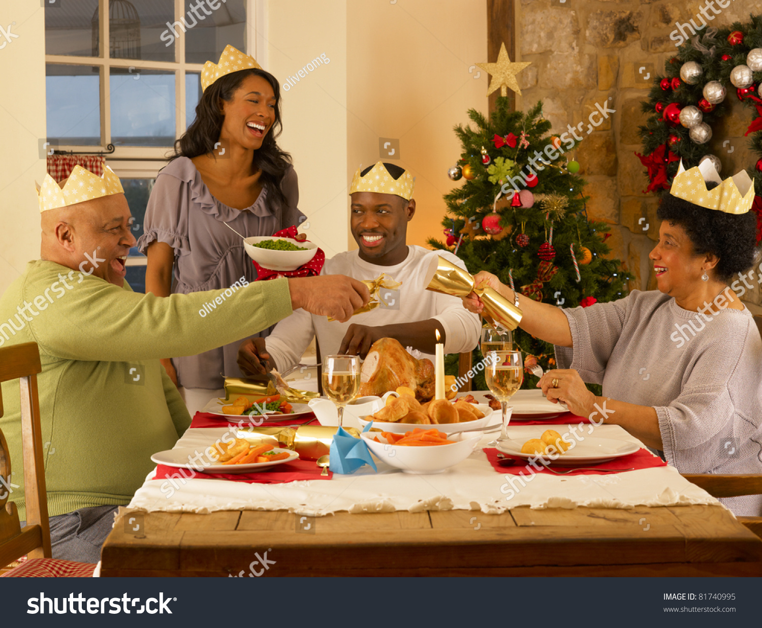 Adult African American Family Having Christmas Stock Photo ...