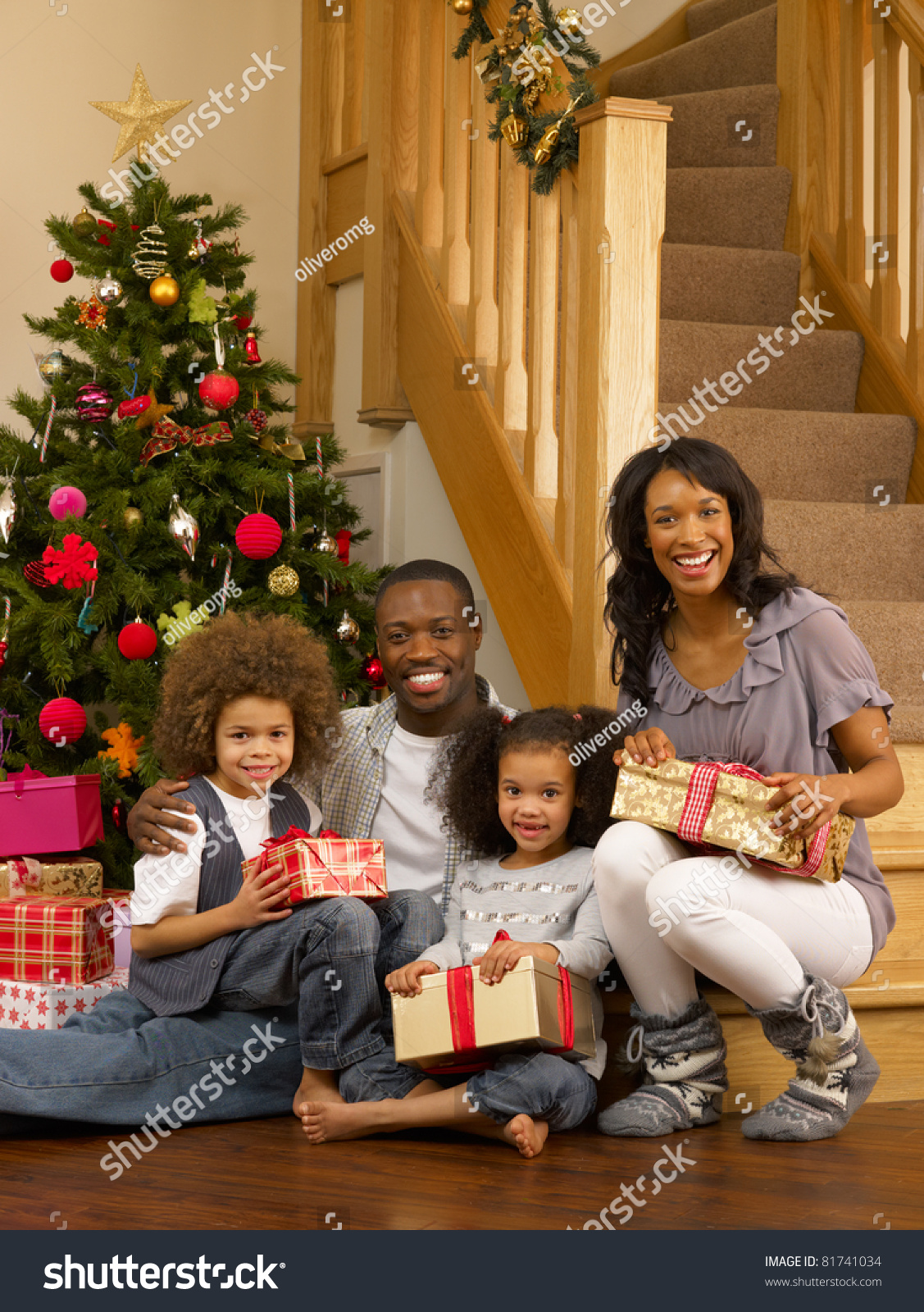 Black Family Christmas Portraits Young African American...