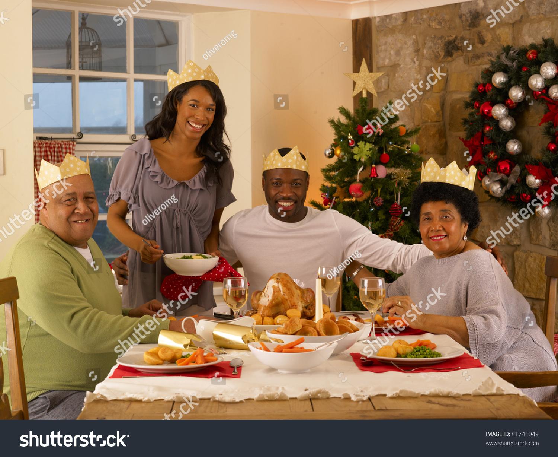 Adult African American Family Having Christmas Dinner ...