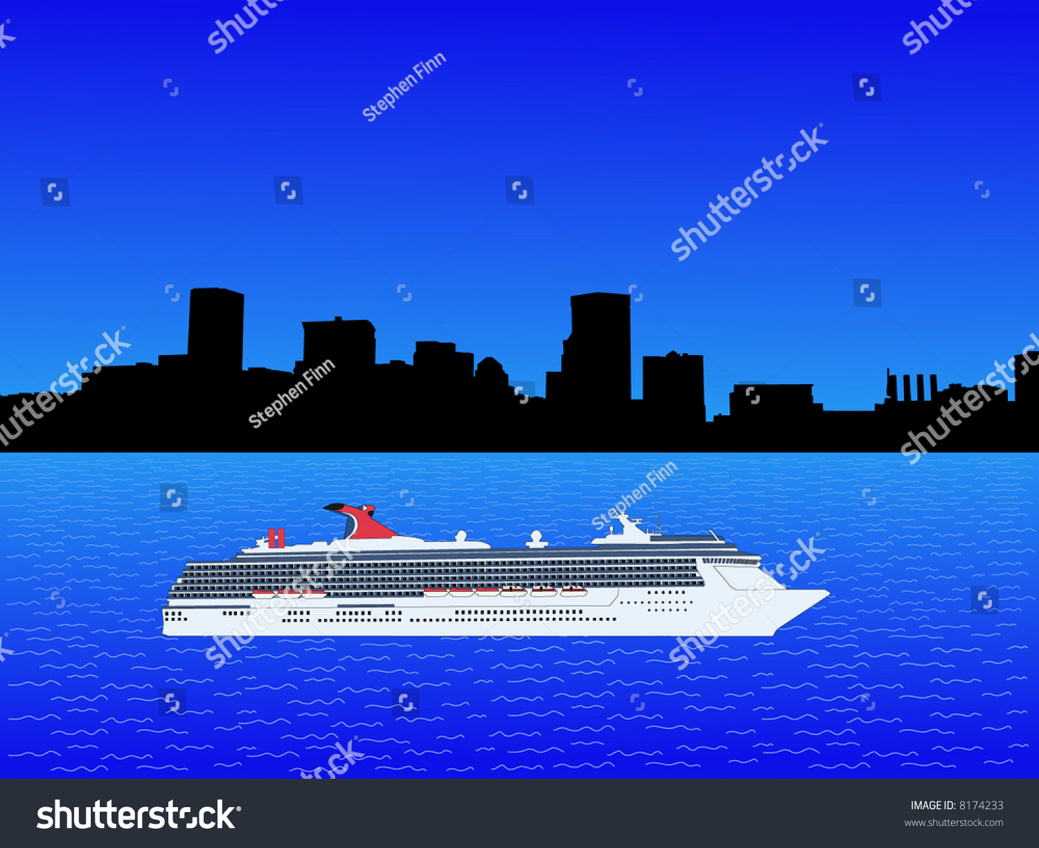 Cruise Ship In Baltimore Inner Harbor Illustration