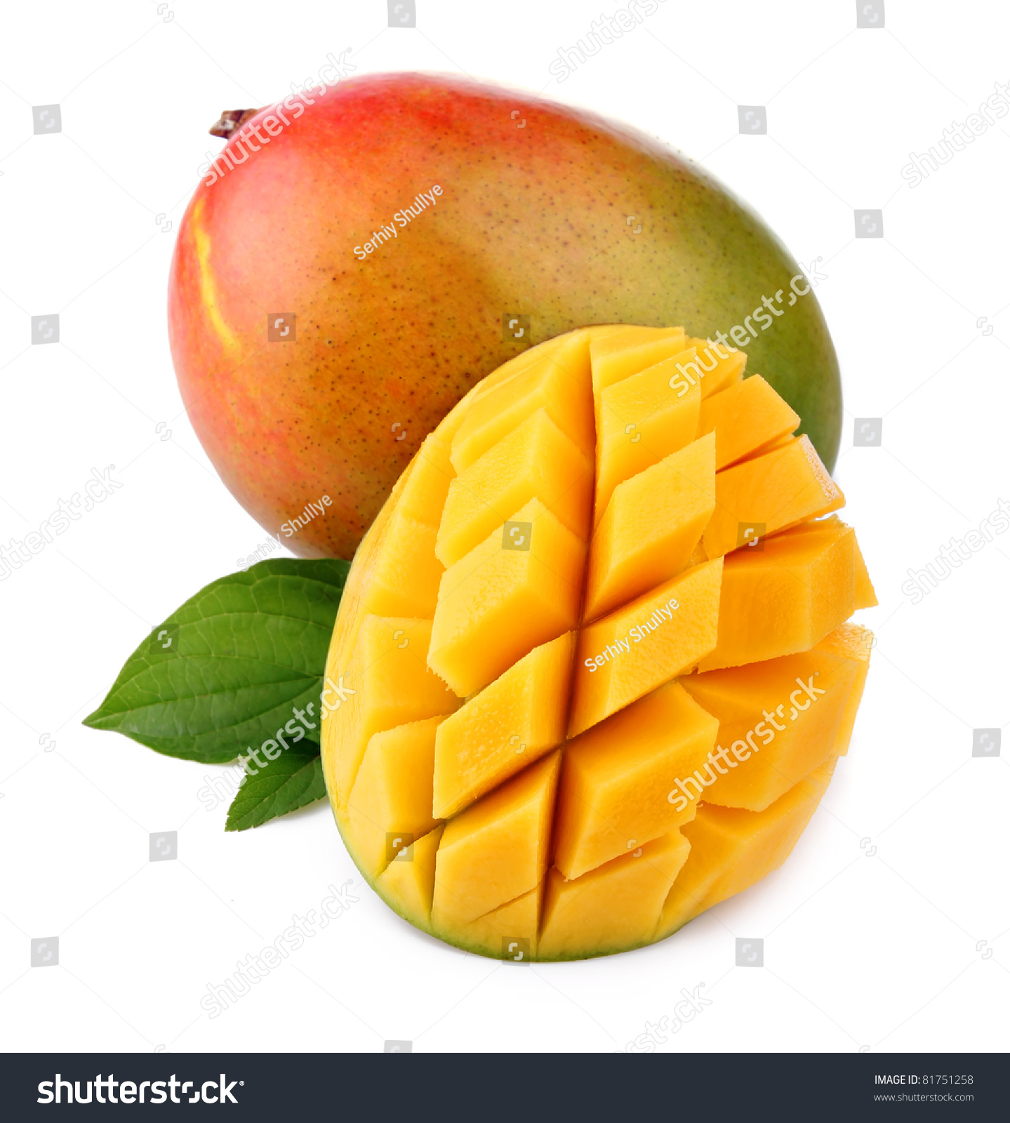 Fresh Mango Fruit With Cut And Green Leafs Isolated On ...