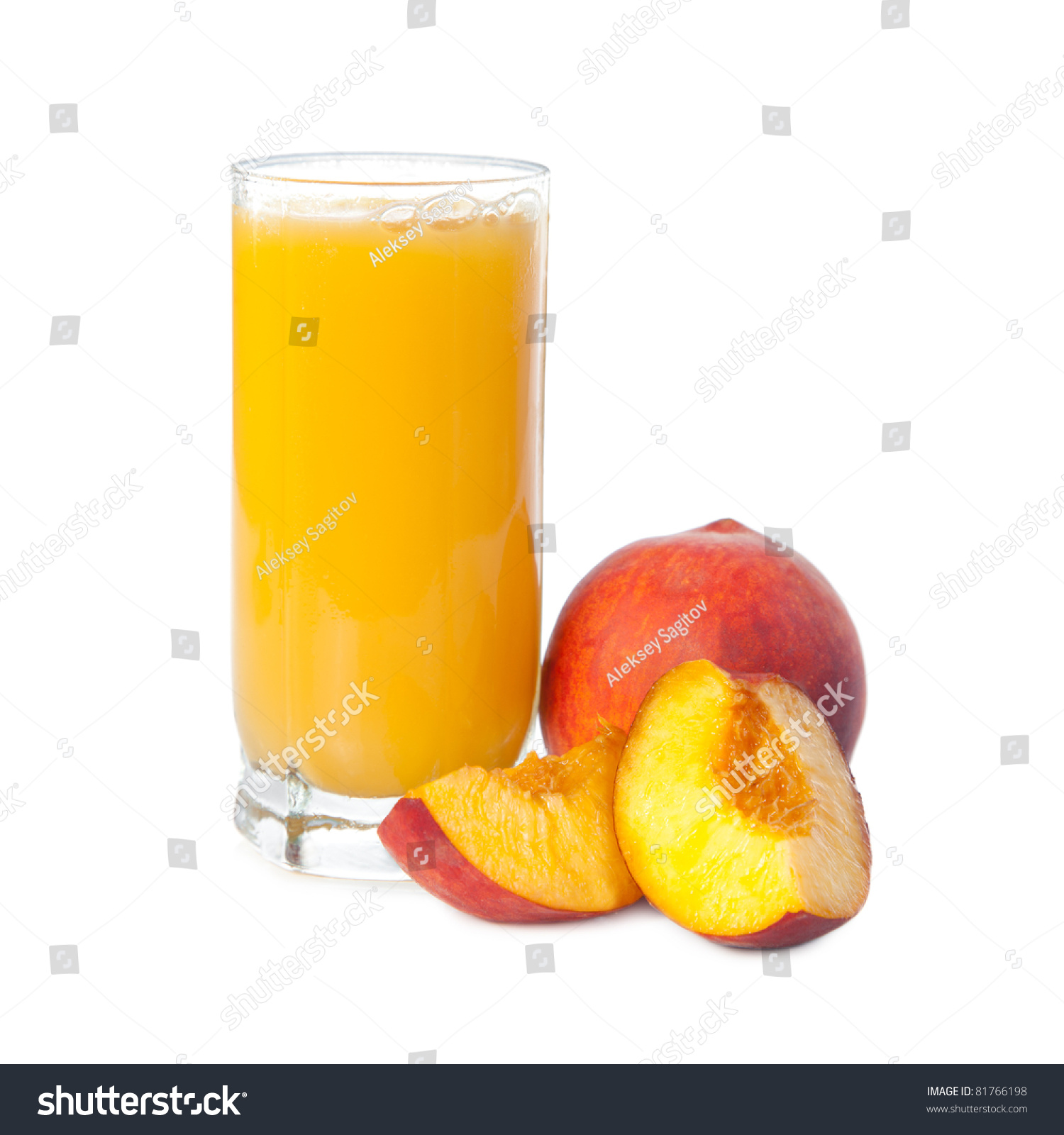 glass of peach juice with fruits near. Isolated on a white ...