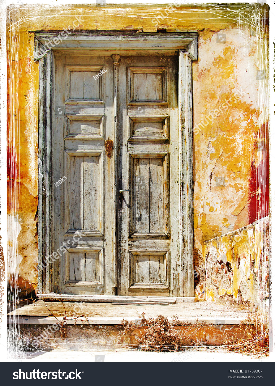 Old Traditional Greek Doors Artwork Painting Stock